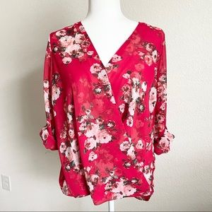 Kut from the Kloth Red Floral Wrap Top Small
